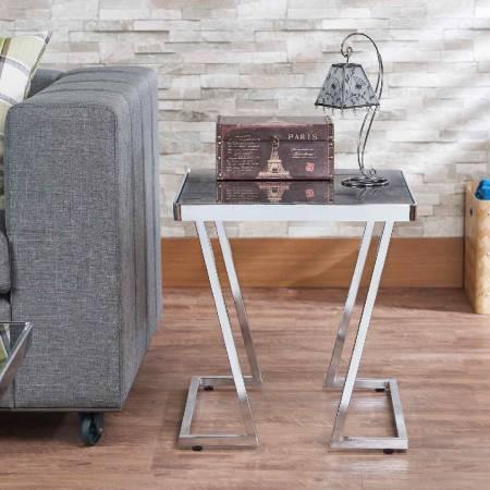 V Shape Metal Post Legs Black Glass Side Table - This product has horizontal V shape metal post legs
