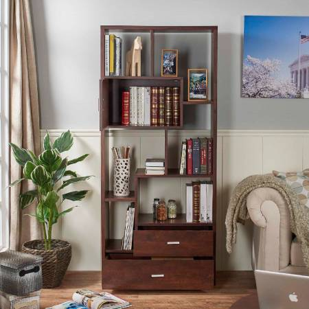 Vintage walnut wooden laminate modern bookcase - A functional bookcase.