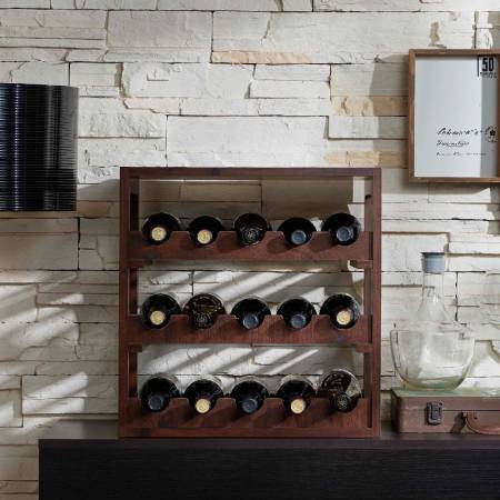 Vintage Square Collection Wine Cabinet - Open space three-storey wine rack.
