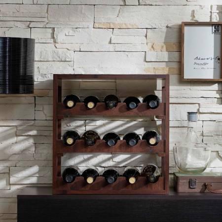 Armoire à vin Vintage Square Collection - Casier à vin de trois étages à aire ouverte.