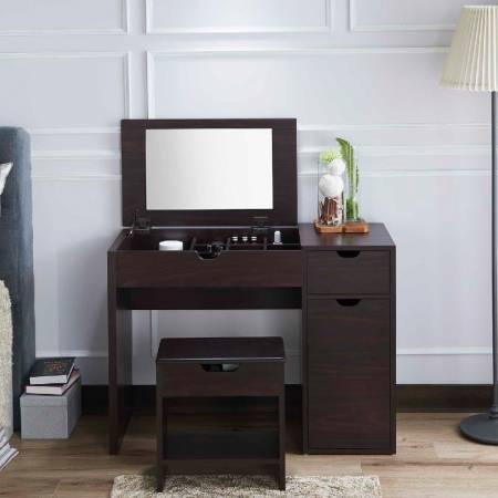 Wooden veneer vanity - Simple dresser, the most able to show women elegant, beautiful posture.