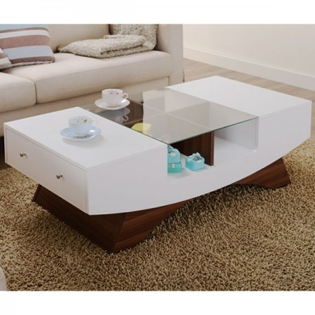 White Craft Coffee Table With Glass Top - Pure white desktop, unique curves, creating a beautiful gesture.