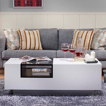 White Modern Coffee Table - design shows eastern sincere and kind adequately.
