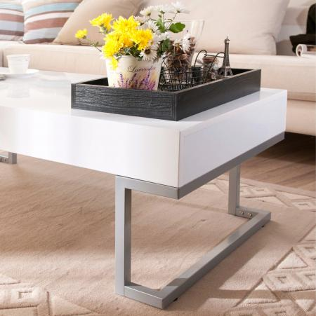 White Elegant Coffee Table - Black tray and white tabletop