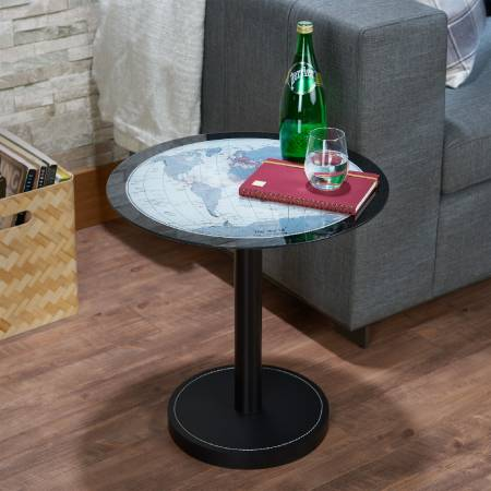 World Map Circle Side Table - The bottom design combines with black leather to increase the whole quality