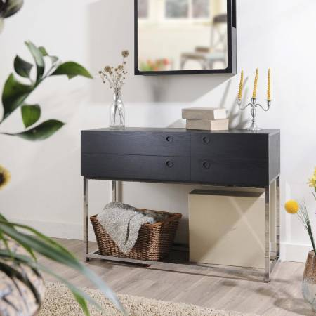 High-Quality Metal With Both Side Drawers Console Table - Black wooden laminate console table.