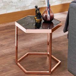 六角形の黒いガラスのバラの金の絶妙なサイドテーブル