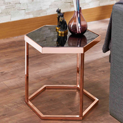 HEXAGONAL BLACK GLASS ROSE GOLD EXQUISITE SIDE TABLE