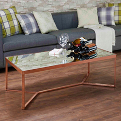 RECTANGLE MIRROR SURFACE GLASS COFFEE TABLE