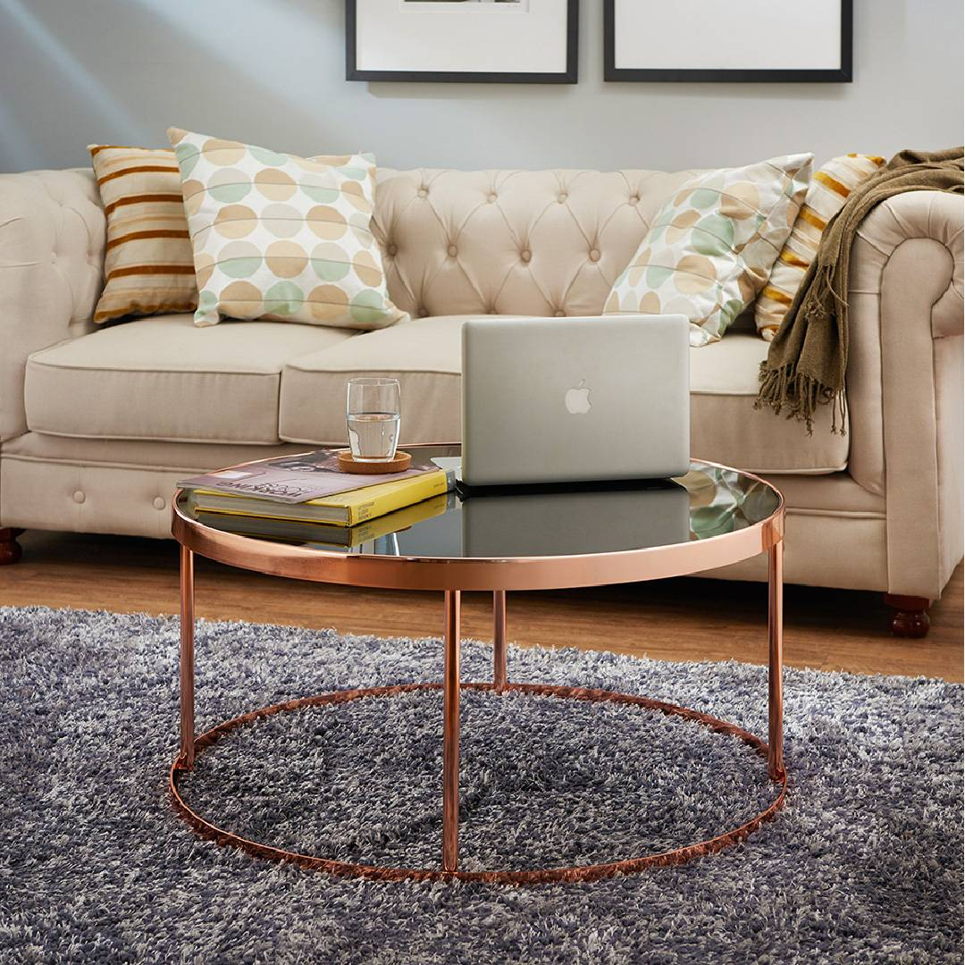Rose Gold Color Round Tabletop Coffee Table Supply One