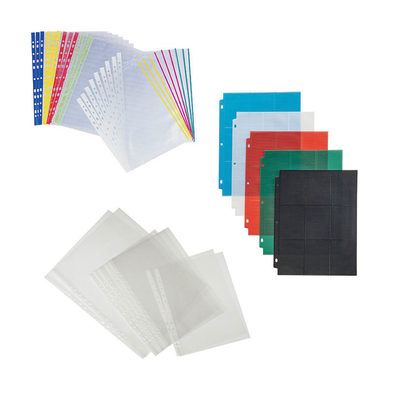 Clear sheet protectors for ring binders.