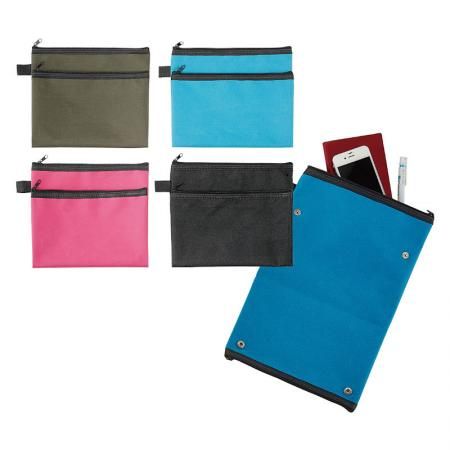 Canvas Double Pocket Pouch - Double zipper pouch where all your school supplies fit perfect and organized.