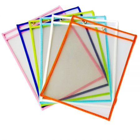 Fabric Edge Dry Erase Pocket - Non-Woven Fabric Edge Dry Erase Pockets