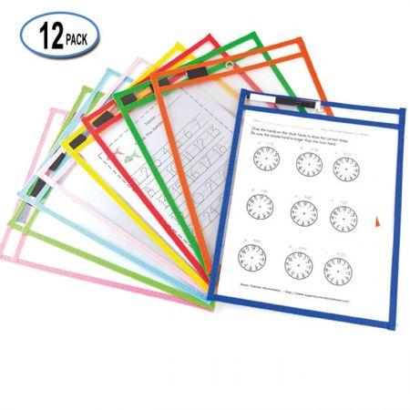 "10""x13"" Job Ticket Holder - Non-Woven Edge Dry Erase Pockets with elastic band pen holder."