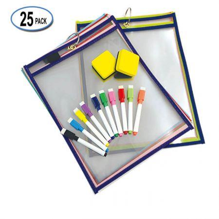 "10""x14"" Custom Dry Erase Pocket for Amazon - elastic band pen holder Dry Erase Pockets"