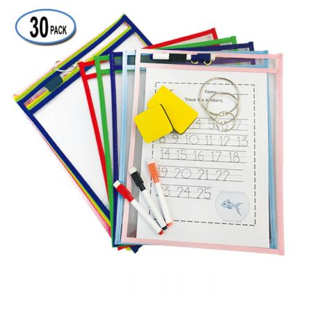 """10""""x13"""" Dry Erase Pocket Sleeve - Centered metal eyelets are perfect for easy hanging."""