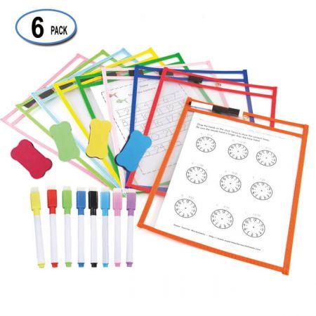 "8.5""x11"" Reusable Dry Erase Pocket - Dry Erase Pockets with elastic band pen holder."