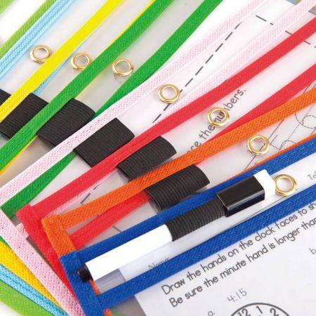 Dry Erase Pocket with Pen Holder - colorful Dry Erase Pockets