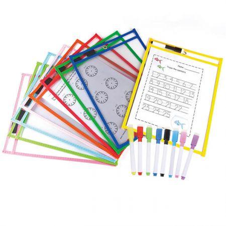 Dry Erase Pocket with Pen Holder - elastic band pen holder Dry Erase Pockets