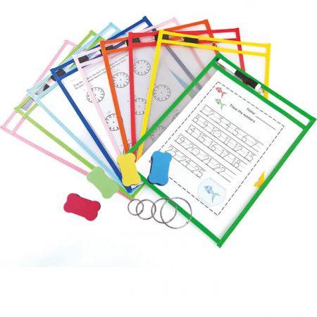 Dry Erase Pocket with Pen Holder - assorted color Dry Erase Pockets