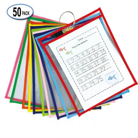 """10""""x13"""" (50 Pack) Dry Erase Pocket - colorful Dry Erase Pockets"""