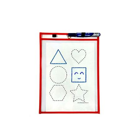 Dry Erase Pocket with Pen Holder - Non-Woven Edge Dry Erase Pockets with elastic band pen holder.