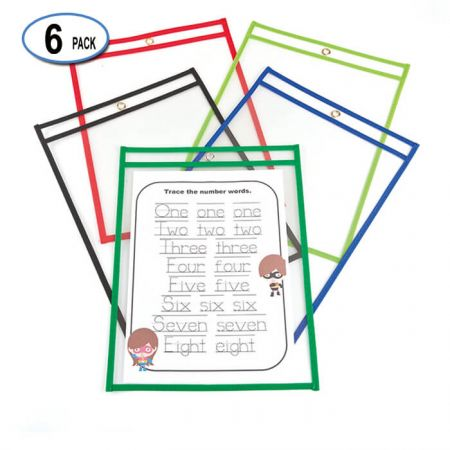"10""x14"" PVC Dry Erase Pocket - Reusable Dry Erase Pockets"