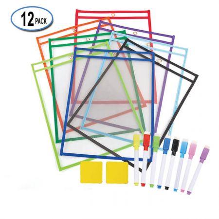 "10""x14"" Dry Erase Sleeve Holder Pockets - custom Dry Erase Pockets"