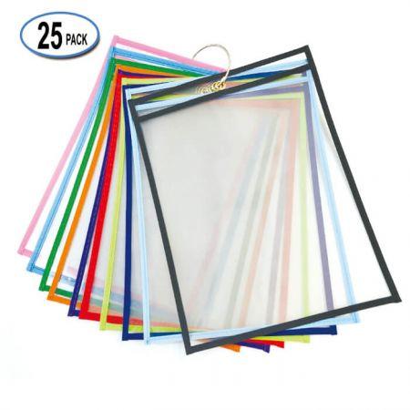 "9""x12"" Custom Plastic Dry Erase Pocket - PET Dry Erase Pockets"