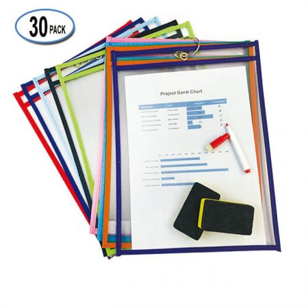 """10""""x13"""" Stitched Shop Ticket Holders - Keep kids happy while learning with cheerful dry erase pockets in bright colors!"""
