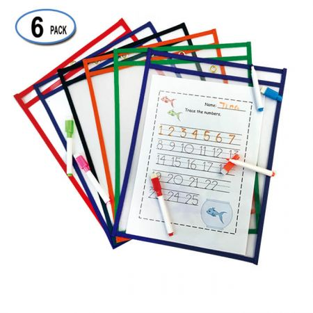 """10""""x13"""" Assorted Color Dry Erase Sleeve - These Industrial grade stitched heavy duty pockets are made to withstand daily usage of classroom, office and work."""