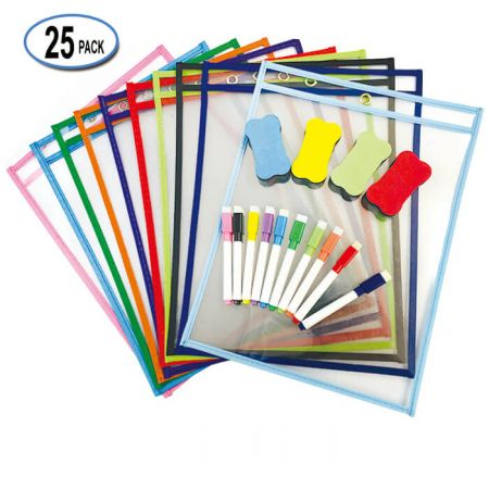 """10""""x14"""" Dry Erase Sleeves Sheets - They write and wipe off well after the kids use them"""