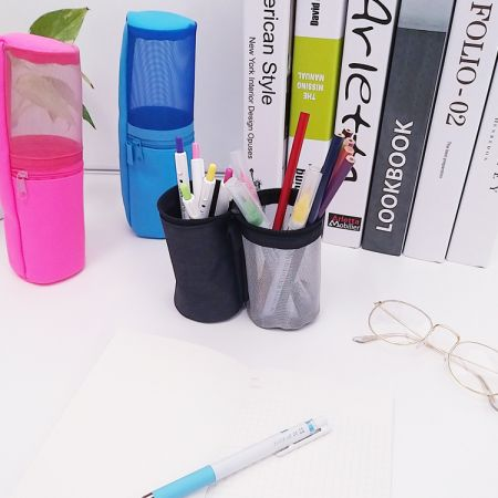 Stand Pencil Case - The pencil pouch bag has 3 eyelets to fit into binders and easy to carry, make your study more and work more effectively.