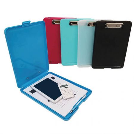 Clipboard Box File Storage - Clipboard Boxes File Storage Filing Cases can hold all your supplies including papers, books, calculator, notebook, i-pad, tablets, phones, etc. It also has a separate compartments for pencil or pen and the buck closure keeps your content secure.