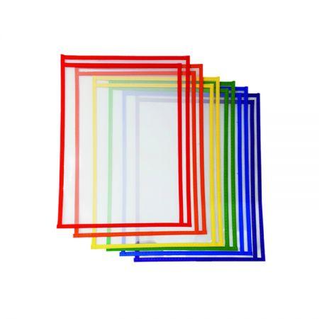 Maniche in plastica riutilizzabili in colori assortiti sul lato destro con tasche a secco - Tasche cancellabili a secco con caricamento laterale Ridht