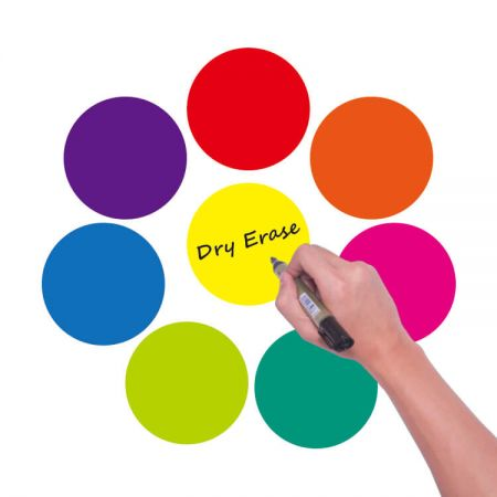 Dry Erase Dot Stickers - The dry erase wall decal make fun learning to kids. Place sticker on walls to practice vertical drawing or put them on desk for small group alphabet / math games purpose. It's suitable for office, school and home.