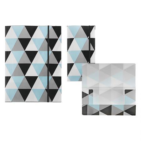 Cartella geometrica a 3 lembi in PP - Cartella con patta geometrica