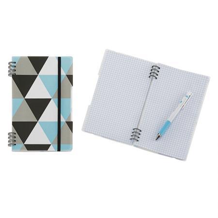 Quaderno a doppio filo geometrico in PP - Notebook compatto geometrico
