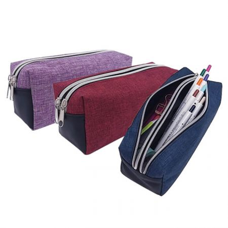 Large Capacity Pencil Case - The Polyester large capacity pencil case with separate space can offer space for 60-80 pens. It can be used as a pencil case, office supplies organization, cosmetic bag.