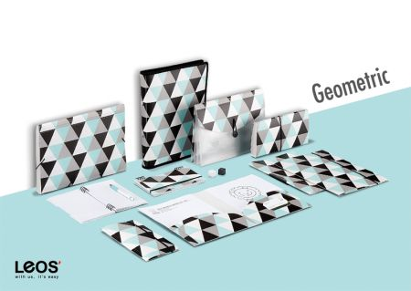Geometric Printing PP Filing Stationery Series - Trendy Geometric Pattern Filing Stationery