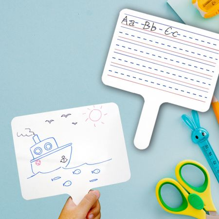 Dry Erase Paddle Board - The dry erase paddle board is made of double-sided, laminated MDF. Write and wipe become more easily and eco-friendly.