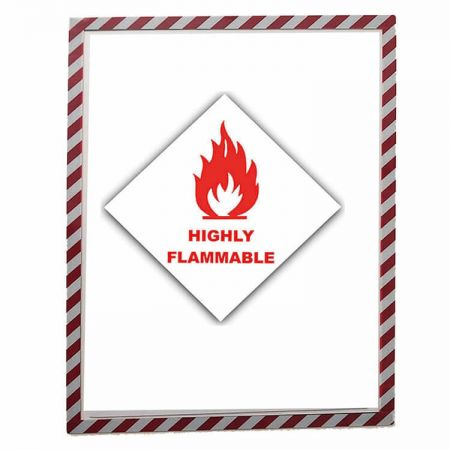 Magnetic Sign Holder - The clear magnetic display frames with stripes and sturdy cover insert signs easily.