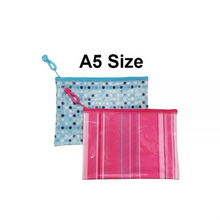 A5 Size Pink Reusable Zip Bags with Zipper for Office Use - You can use them for storaging different working tools, makeup sets, artistic sets and more.