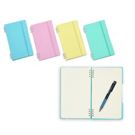 Taccuino Twin Wire pastello - Notebook compatto con banda elastica