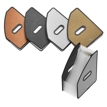 Brushed Metal Look Vertical 13 pockets Expanding File - Silkrado Vertical Expanding File