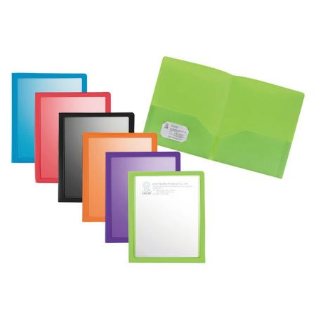 Window View Twin Pocket Folder - Inside pocket includes a die-cut slot for a business card.