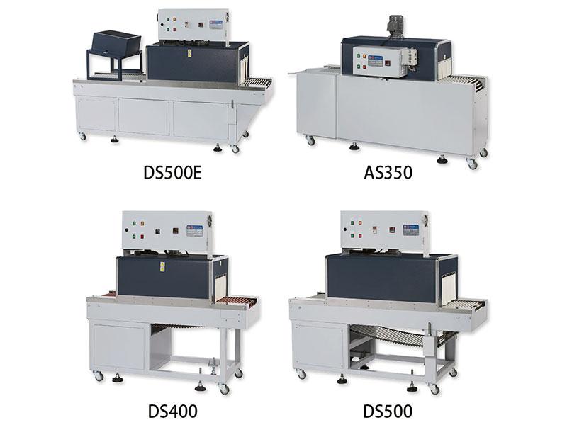 AS-350直吹式属于一般电热型收缩机;DS系列为内炉循环式,风量较均匀;DSE属于PE膜料专用机。