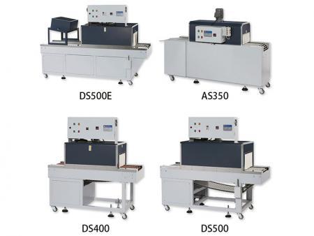 薄膜收縮機 - AS-350直吹式屬於一般電熱型收縮機;DS系列為內爐循環式,風量較均勻;DSE屬於PE膜料專用機。