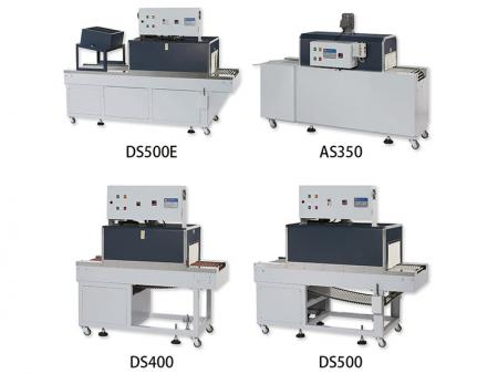 薄膜收缩机 - AS-350直吹式属于一般电热型收缩机;DS系列为内炉循环式,风量较均匀;DSE属于PE膜料专用机。