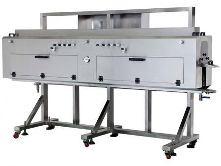 蒸气收缩机 - WS系列适用于标签套入,包装物材质适用于玻璃瓶、铁罐类。